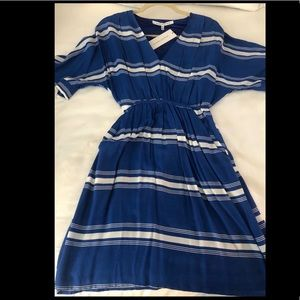 Women's blue and white dress